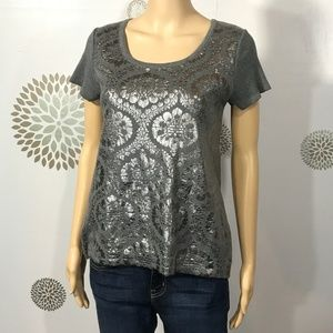 Anthropologie MOTH Gray Metallic Zip Sweater XS